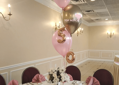 50th Birthday Celebration- Elegant Centerpiece - Pink and Gold Centerpieces -Table-balloons-Top Notch Balloon Creations-Northville-Ann Arbor-Detroit-Michigan - Adult Parties