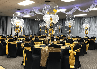 50th Birthday Centerpiece - Elegant Centerpieces - Gold and Black Decor - Top Notch Balloon Creations-Northville-Ann Arbor-Detroit-Michigan - Affairs By Elegance Rental Hall