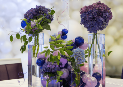 Elegant Floral and Balloon Centerpieces - Reception -Top Notch Balloon Creations-Northville-Ann Arbor-Detroit-Michigan - Wedding - Purple