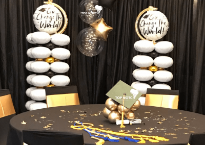 Graduation Balloon Centerpieces - Grad 2020-Top Notch Balloon Creations-Northville-Ann Arbor-Detroit-Michigan - Black and Gold