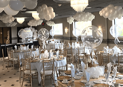 Heaven Sent Baby Shower- Organic Balloons- Balloon Clouds - Heavenly Sent Shower - Top Notch Balloon Creations-Northville-Ann Arbor-Detroit-Michigan - Ceiling decor - Brown Baby (1)