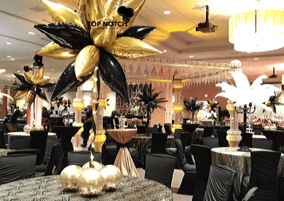Motor City Casino in Detroit, MI - Elegant Centerpieces - Gold and Black Decor - Top Notch Balloon Creations-Northville-Ann Arbor-Detroit-Michigan - Gatsby Theme - Centerpiece