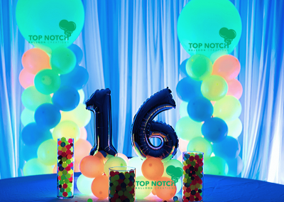 Sweet Sixteen Neon Party- Balloon Numbers- Glow in the dark decor - Top Notch Balloon Creations - Northville-Ann Arbor-Detroit-Michigan - Teen Party - 16th