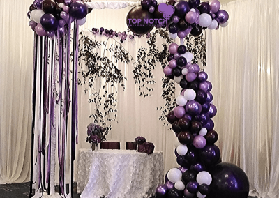 Sweetheart Table- Organic Balloons-Top Notch Balloon Creations-Northville-Ann Arbor-Detroit-Michigan - Circle Canopy - Wedding Reception Decor