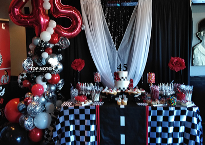 Organic Balloon Column - 45th Birthday - Road Theme - Checker theme-Top Notch Balloon Creations - Northville - Michigan - Adult Birthday Parties