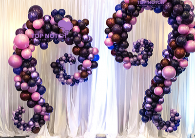 Organic Balloon Curvy Columns - Purple Balloons - Organic Balloon Decor - Balloon Columns - Top Notch Balloon Creations - Northville - Michigan