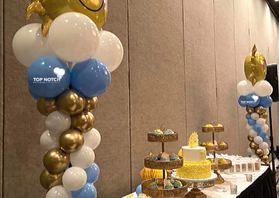 Sunshine Balloon Columns- Baby Boy Shower - Chrome Gold Balloons - Sonshine baby themes- Top Notch Balloon Creations- Northville, Michigan